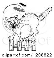 Black And White Halloween Scared Cat And Bats Against A Full Moon