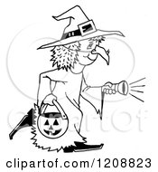 Cartoon Of A Black And White Halloween Trick Or Treater Girl In A Witch Costume Royalty Free Clipart