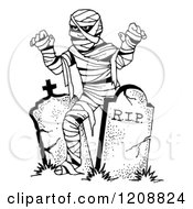 Black And White Halloween Mummy And Tombstones