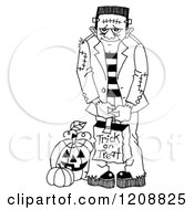 Cartoon Of A Black And White Halloween Trick Or Treater Frankenstein Royalty Free Clipart
