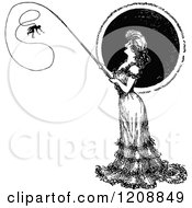 Clipart Of A Vintage Black And White Lady Catching A Man On A Fishing Pole Royalty Free Vector Illustration by Prawny Vintage