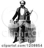 Clipart Of A Vintage Black And White Portrait Of Charles Dickens Royalty Free Vector Illustration