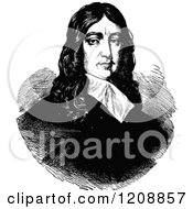 Clipart Of A Vintage Black And White Portrait Of The English Poet John Milton Royalty Free Vector Illustration