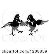 Clipart Of A Vintage Black And White Crow Couple Dancing Royalty Free Vector Illustration