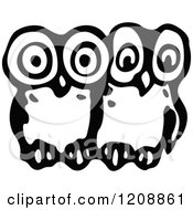 Clipart Of Vintage Black And White Two Owls Royalty Free Vector Illustration