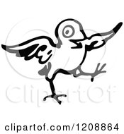 Clipart Of A Vintage Black And White Little Bird Royalty Free Vector Illustration