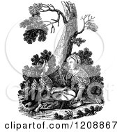 Clipart Of A Vintage Black And White Biblica Scene Of Two Women Grinding At The Mill Matthew 24v41 Royalty Free Vector Illustration