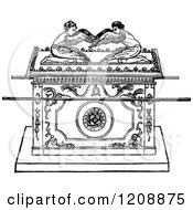 Clipart Of A Vintage Black And White Jewish Biblical Ark Of The Covenant Royalty Free Vector Illustration by Prawny Vintage