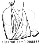 Clipart Of A Vintage Black And White Arm In A Sling Royalty Free Vector Illustration