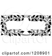 Clipart Of A Vintage Black And White Holly Frame Royalty Free Vector Illustration