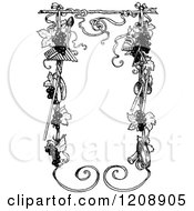 Clipart Of A Vintage Black And White Music And Grape Vine Frame Royalty Free Vector Illustration