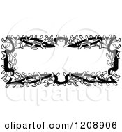 Clipart Of A Vintage Black And White Mistletoe Frame Royalty Free Vector Illustration