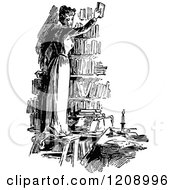 Clipart Of A Vintage Black And White Woman Holding Up A Book In A Library Royalty Free Vector Illustration