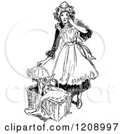 Clipart Of A Vintage Black And White French Maid And Baby Basket Royalty Free Vector Illustration