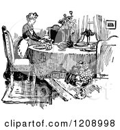 Clipart Of A Vintage Black And White French Maid Serving A Meal Royalty Free Vector Illustration