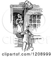 Clipart Of A Vintage Black And White French Tobacco Shop Royalty Free Vector Illustration