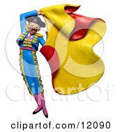 3d Matador Swinging A Bullfighter Cape