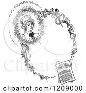 Clipart Of A Vintage Black And White Pretty Lady Border Royalty Free Vector Illustration