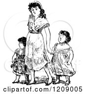 Clipart Of A Vintage Black And White Mother And Daughters Royalty Free Vector Illustration