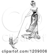 Clipart Of A Vintage Black And White Lady And Cupid Playing Tug Of War Royalty Free Vector Illustration by Prawny Vintage