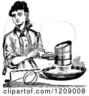 Vintage Black And White Lady Sifting Flour
