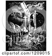 Clipart Of A Vintage Black And White Scene Of Crucifixion Of Jesus At Calvary Royalty Free Vector Illustration by Prawny Vintage