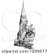 Vintage Black And White Church With Spire