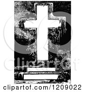 Clipart Of A Vintage Black And White Cross With Foliage And Copyspace Royalty Free Vector Illustration