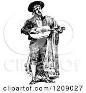 Clipart Of A Vintage Black And White Spanish Singer Royalty Free Vector Illustration by Prawny Vintage