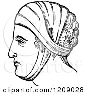 Clipart Of A Vintage Black And White Head Dressing Royalty Free Vector Illustration