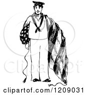Clipart Of A Vintage Black And White American Navy Man Royalty Free Vector Illustration by Prawny Vintage