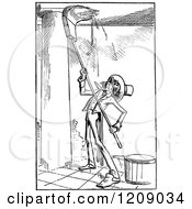 Clipart Of A Vintage Black And White Man Washing A Porch Royalty Free Vector Illustration by Prawny Vintage