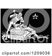 Clipart Of A Vintage Black And White Scene Of Lincoln Setting Men Free From Slavery Royalty Free Vector Illustration