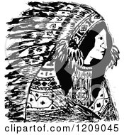Clipart Of A Vintage Black And White Native American Indian Chief Royalty Free Vector Illustration