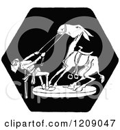 Clipart Of A Vintage Black And White Man And Horse Royalty Free Vector Illustration