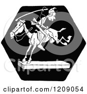 Clipart Of A Vintage Black And White Man Riding A Horse Backwards Royalty Free Vector Illustration