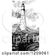 Clipart Of A Vintage Black And White Boston Lighthouse Royalty Free Vector Illustration by Prawny Vintage
