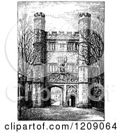 Vintage Black And White Great Gate At Trinity College In Cambridge Uk