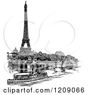 Vintage Black And White Boat Bridge And Eiffel Tower