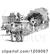 Clipart Of A Vintage Black And White Parisian Scene Royalty Free Vector Illustration