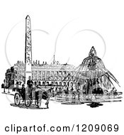 Clipart Of A Vintage Black And White Parisian Street Scene Royalty Free Vector Illustration