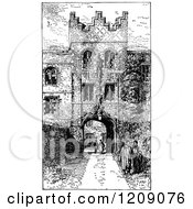 Clipart Of A Vintage Black And White Gateway Entrance To Jesus College In Cambridge Uk Royalty Free Vector Illustration