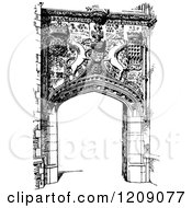 Clipart Of A Vintage Black And White Gateway Entrance To St Johns College In Cambridge Uk Royalty Free Vector Illustration