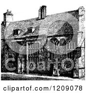 Clipart Of A Vintage Black And White Exterior Of Corpus Christi College In Cambridge Uk Royalty Free Vector Illustration