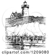 Vintage Black And White View Of Long Island Lighthouse