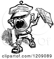 Clipart Of A Vintage Black And White Shouting News Boy Royalty Free Vector Illustration by Prawny Vintage