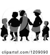 Vintage Black And White Silhouetted Group Of Children