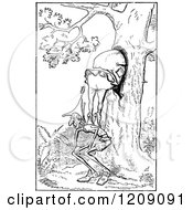 Clipart Of Vintage Black And White Men Hiding In A Hollow Tree Royalty Free Vector Illustration