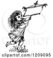 Clipart Of A Vintage Black And White Little Girl Carrying A Sign Royalty Free Vector Illustration
