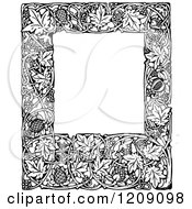Clipart Of A Vintage Black And White Vine And Acorn Frame Royalty Free Vector Illustration
